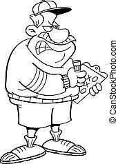 clipb, zangado, treinador, caricatura, segurando