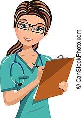 clipboard , γράψιμο , γυναίκα , απομονωμένος , γιατρός
