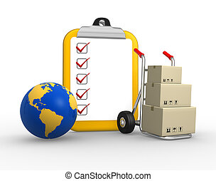 Clipboard - 3d clipboard and earth globe. Package delivery. ...
