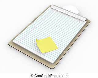Clipboard - 3D render of clipboard with post it note