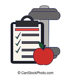 clipboard and apple with barbell