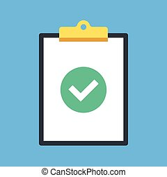 Clipboard and check mark. Clip board and green round icon with checkmark, tick. Completed task, job is done concepts. Modern flat design graphic elements. Vector illustration