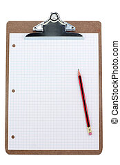 clipboard and grid  paper