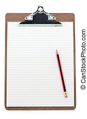 clipboard and lined paper with white background