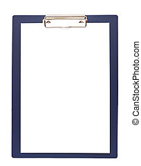 Clipboard and papers isolated on white background