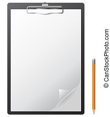 Clipboard with blank page and pencil.