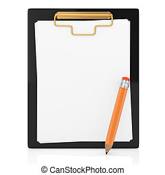 clipboard and pencil isolated on white. 3d rendered image