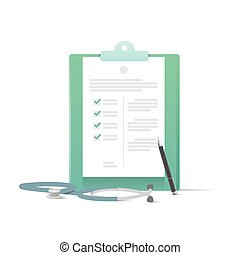 Clipboard and stethoscope and pen illustration vector on white background. Medical concept.