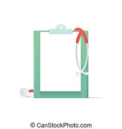 Clipboard  and Stethoscope illustration vector on white background. Medical concept.