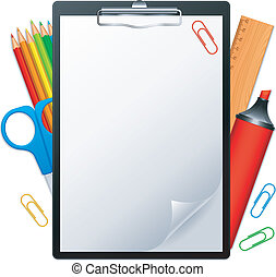 Clipboard and tools. - Clipboard with blank page and writing...