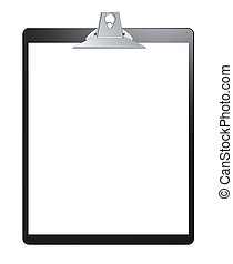 Clipboard. - Black clipboard with blank paper for copy...