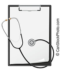 clipboard blank sheet of paper and stethoscope vector illustration isolated on white background