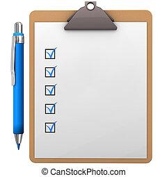 Clipboard Blue Pen