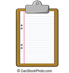 Cartoon illustration of a clipboard with a blank piece of paper