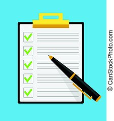 Clipboard check list marks with pen. Vector flat cartoon illustration