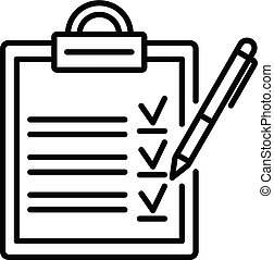 Clipboard checklist icon, outline style