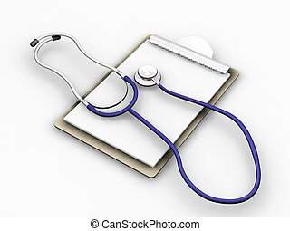 Clipboard - 3D render of a stethoscope on a clipboard