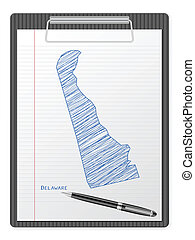 clipboard Delaware map