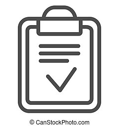 Clipboard done line icon. Done list vector illustration isolated on white. Paper with check outline style design, designed for web and app. Eps 10.