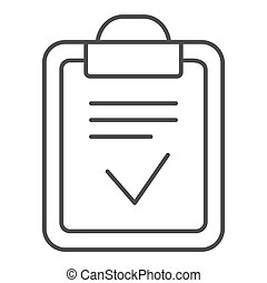 Clipboard done thin line icon. Done list vector illustration isolated on white. Paper with check outline style design, designed for web and app. Eps 10.
