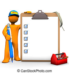 Clipboard Electrical Worker - Orange cartoon character as...
