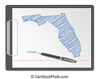 clipboard Florida map - Clipboard with drawing Florida map....