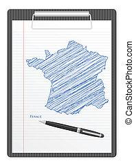 clipboard France map