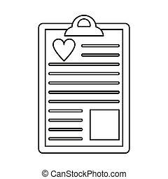 clipboard heart report thin line