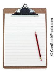 clipboard, i, kreskowany papier