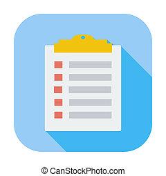 Clipboard icon. - Clipboard. Single flat color icon. Vector...