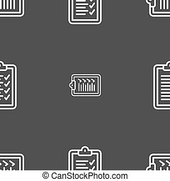 Clipboard icon sign. Seamless pattern on a gray background. Vector