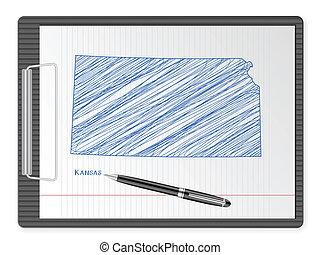 clipboard Kansas map