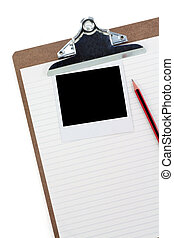 clipboard,  lined paper and photo