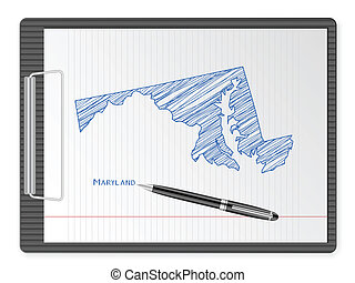 clipboard Maryland map