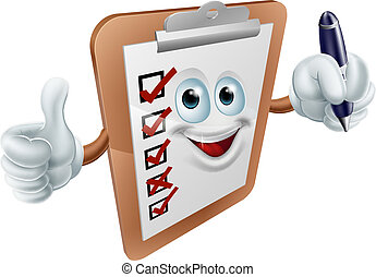 A cartoon clipboard mascot holding a pen and doing a thumbs up