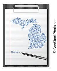 clipboard Michigan map