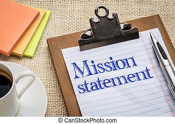 clipboard, misja, deklaracja