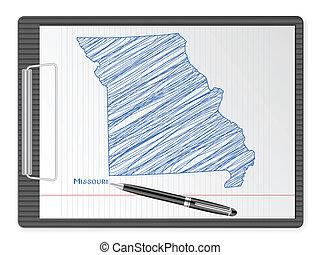 clipboard Missouri map