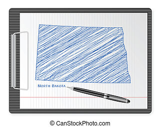clipboard North Dakota map - Clipboard with drawing North ...