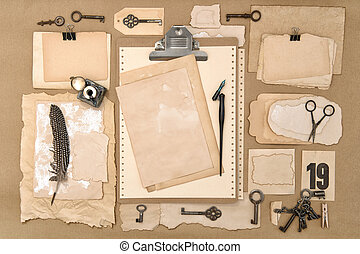 Clipboard old used paper scrapbooking writing tools