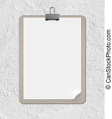 clipboard on a concrete wall background