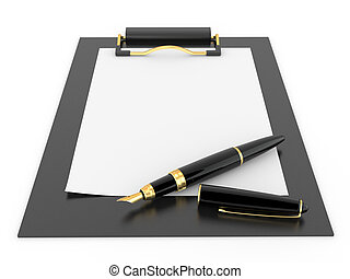 clipboard., papel, folha, caneta, vazio