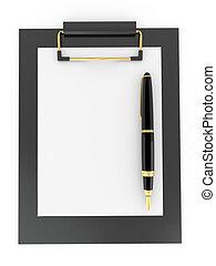 clipboard., papier, blad, pen, lege