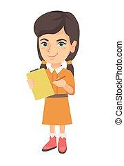 clipboard., papier, przywiązany, dziewczyna, pisanie