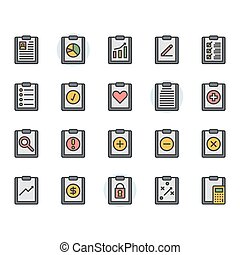 Clipboard related icon and symbol set in color outline design