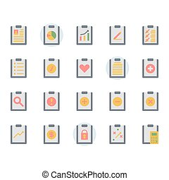 Clipboard related icon and symbol set in flat design