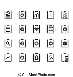 Clipboard related icon and symbol set in glyph design