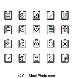 Clipboard related icon and symbol set in outline design