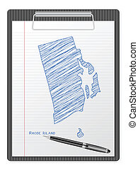 clipboard Rhode Island map - Clipboard with drawing Rhode ...