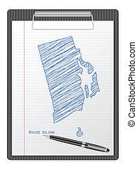 clipboard Rhode Island map - Clipboard with drawing Rhode...